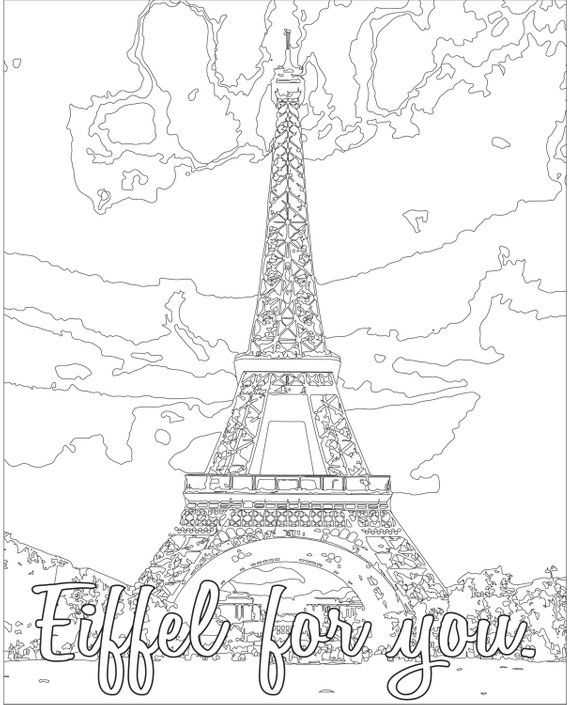 Adult Coloring Page Color Therapy Digital Download Eiffel Tower
