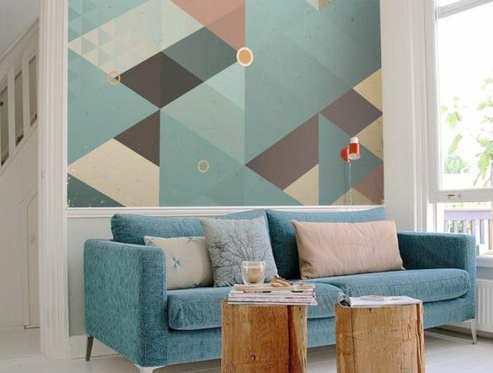 Style Of idée revªtement mural salon papier peint géométrique Minimalist - Style Of geometric wall designs with paint HD