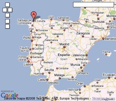 Mapa De La Coruña Galicia España.Este Es Un Mapa De Espana Donde Senala A Coruna Una Ciudad