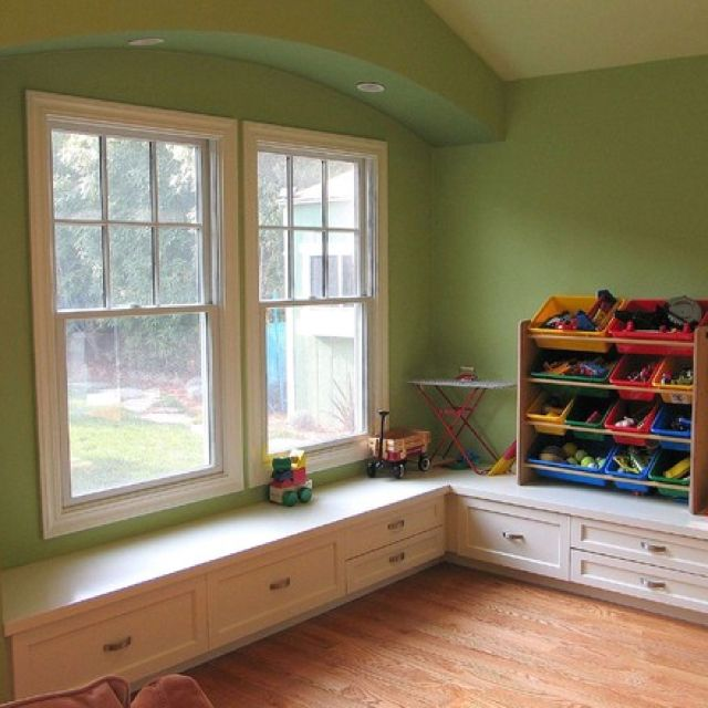 Window Seat In Playroom Example Of A Low