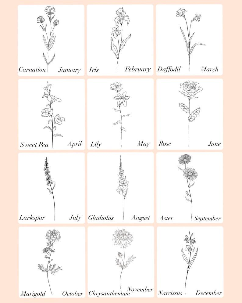 Customized Birth Month Flowers   Side-bySide   Digital File