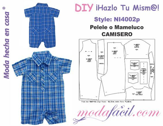 b14cb8bca6 Descarga gratis los Moldes de pelele o mameluco Camisero para bebes  disponibles… Molde Infantil
