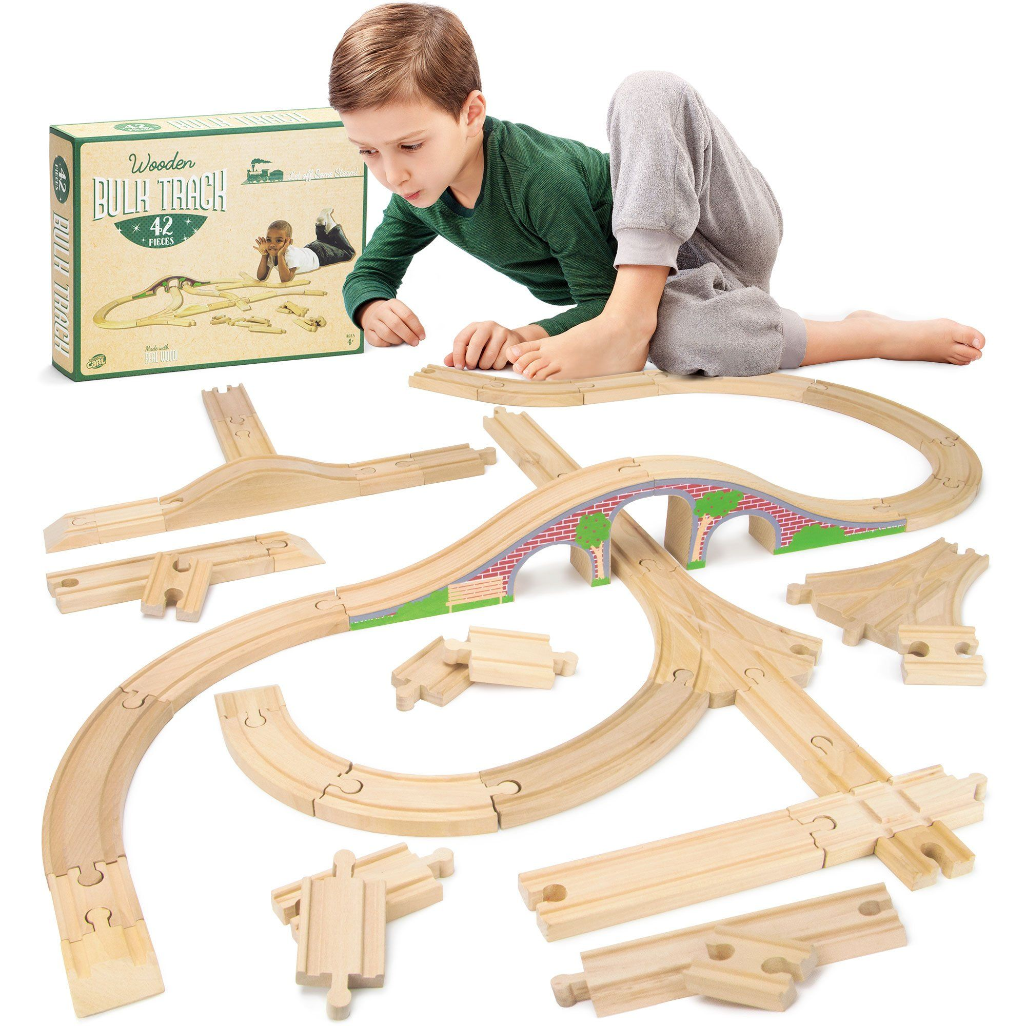 42 piece Bulk Value Wooden Train Track Booster Pack with Red Brick Bridge patible