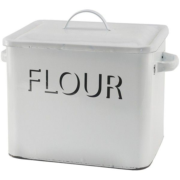 white metal enamelware flour box 50 a liked on polyvore featuring home kitchen