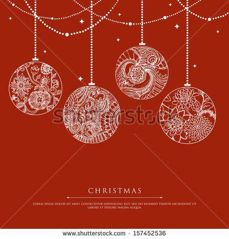 colorful handwritten retro christmas ornaments stock vector 89665102 shutterstock