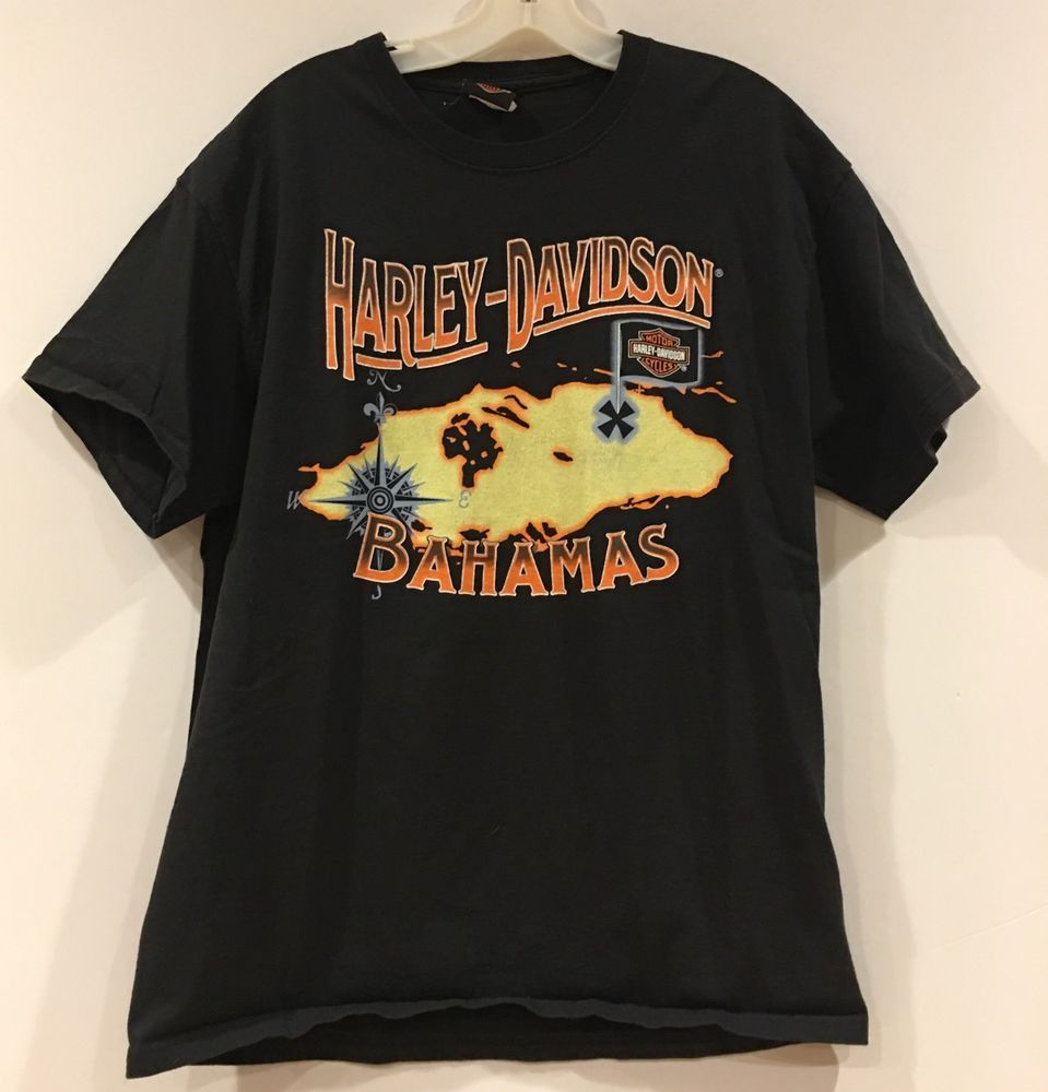 Harley Davidson Motorcycle Nau Bahamas T-Shirt Men's Large ...