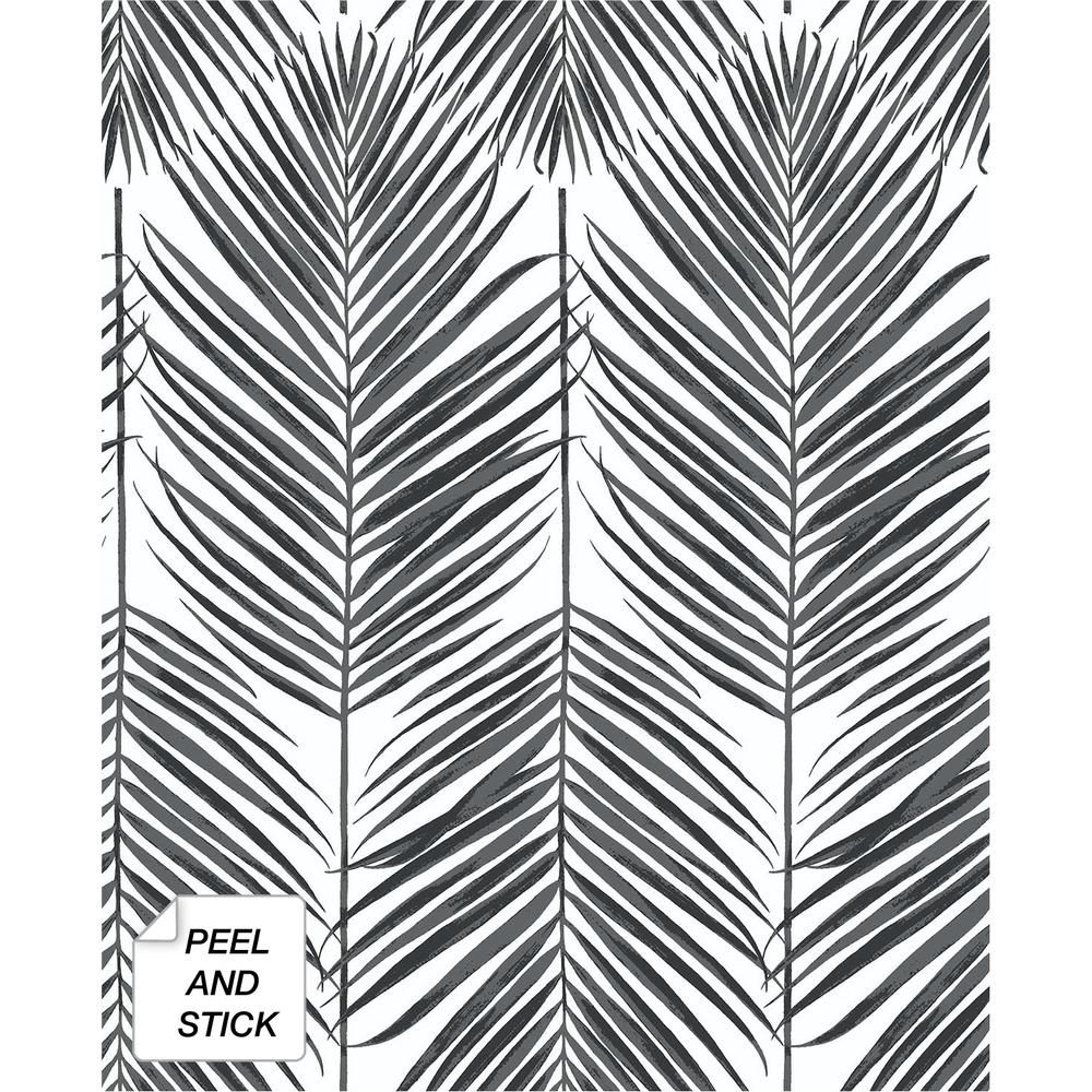 Nextwall Paradise Palm Black Sands Vinyl Strippable Roll Covers 30 75 Sq Ft Nw33000 The Home Depot Peel And Stick Wallpaper Black Sand Palm Wallpaper