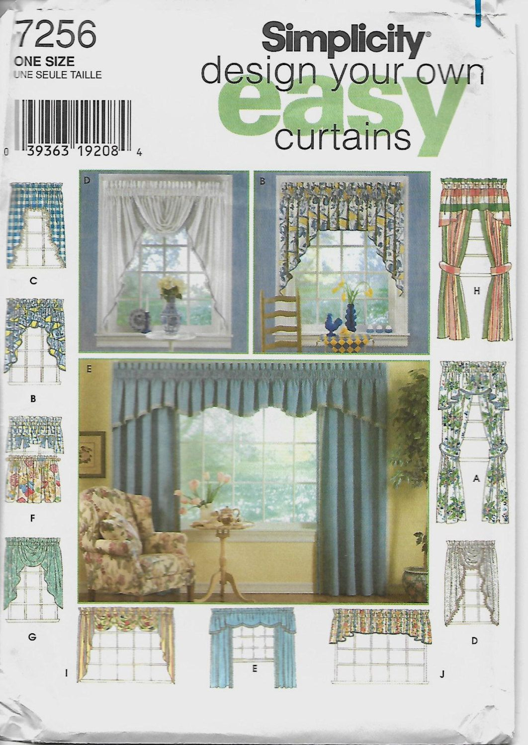 Design Your Own Easy Curtain Pattern Simplicity 7256 Uncut