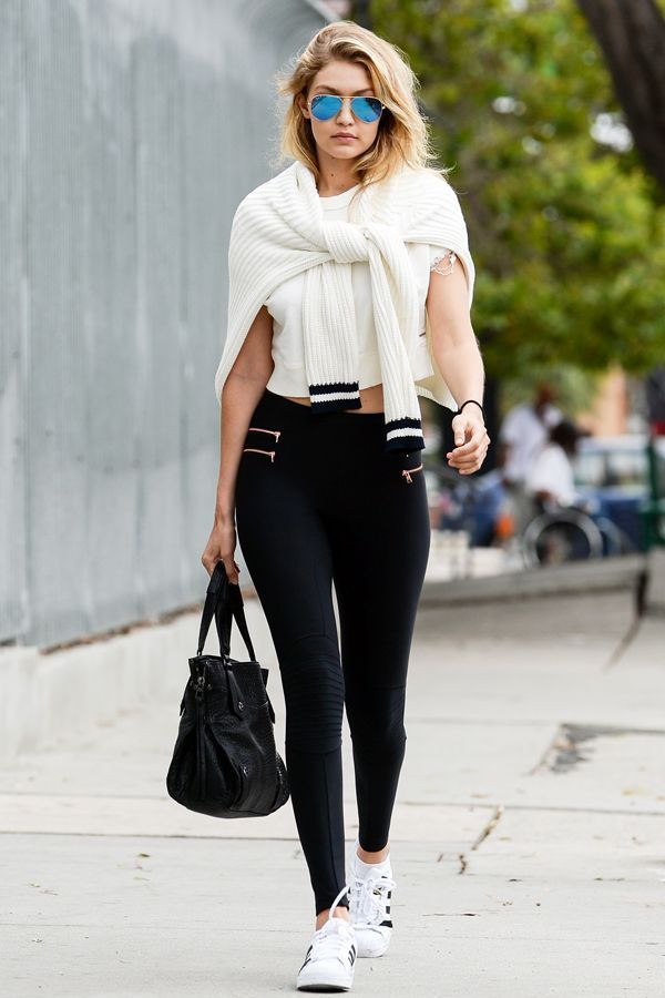 170eeecd6c Gigi Hadid effortlessly pulls off the legging look. Style with a pair of  Adidas by Raf Simmons sneakers and you re set.