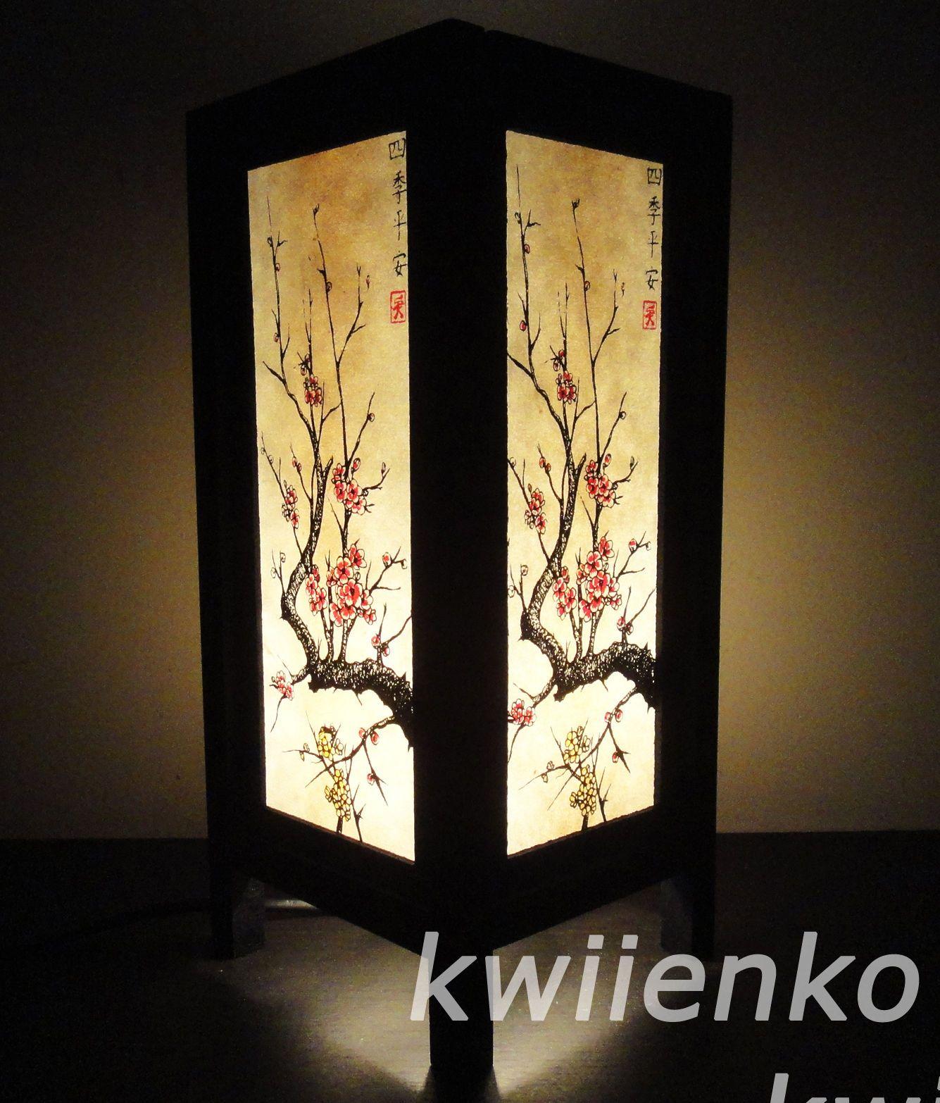 Asian Oriental Japanese Sakura Cherry Blossom Tree Branch Art Bedside Table Lamp Tree Branch Art Asian Lamps Bedside Table Lamps