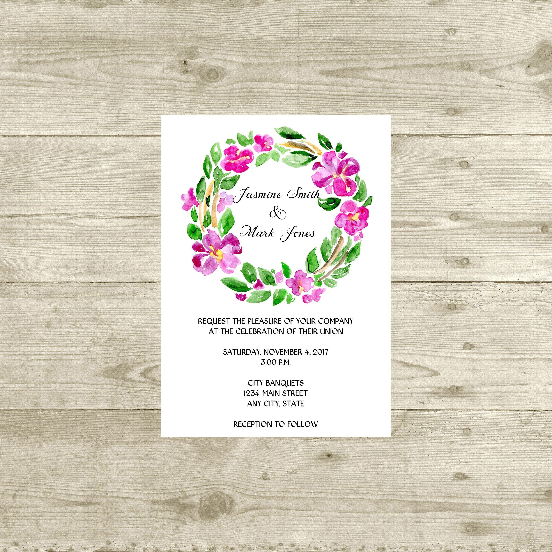 Purple Floral Wreath Wedding Invitation Watercolor Floral Wedding
