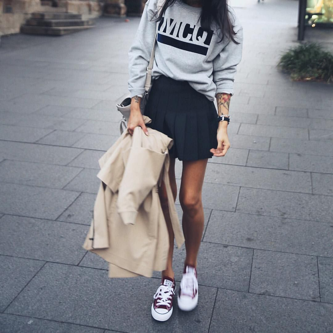 Pepamack On Instagram Wearing Tennis Skirt By Americanapparel Sweatshirt From Revolve And Conve Fashion American Apparel Tennis Skirt Tennis Skirt Outfit