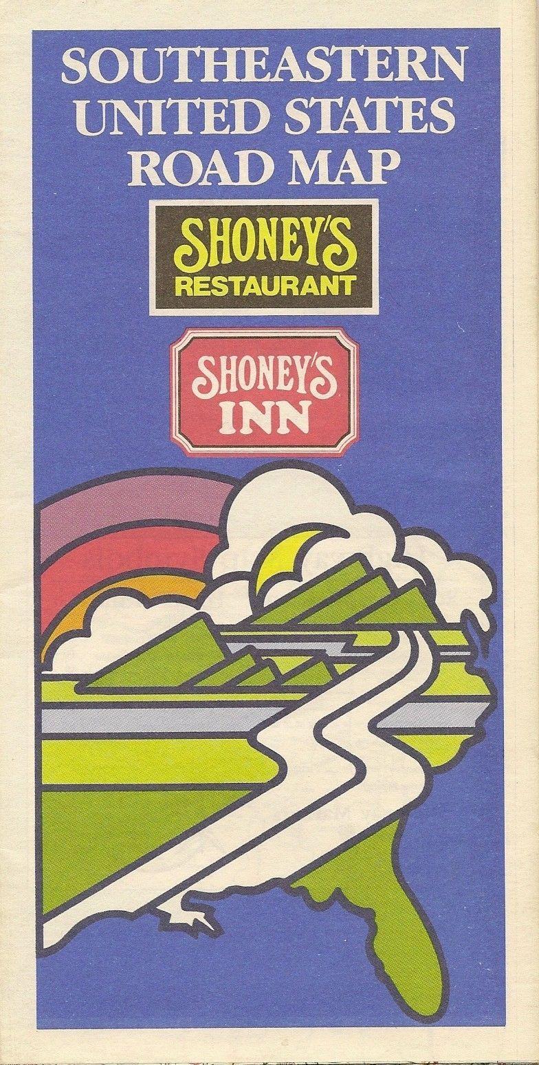 1986 Shoney\'s Restaurant Inn Locator Road Map Southeast United ...