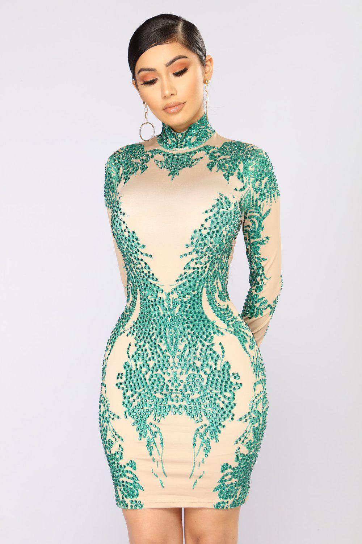 284b57dd914 Miracles Can Happen Dress - Nude Green Robes À La Mode