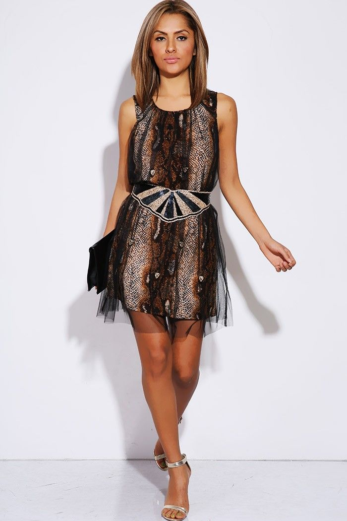 #1015store.com #fashion #style snake animal print black golden tiger tulle overlay shift party dress-$15.00
