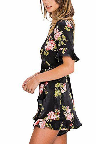 9ec204e61af Women s Junior Black Satin Floral Print Romper Jumpsuit. A satin woven  romper featuring a floral