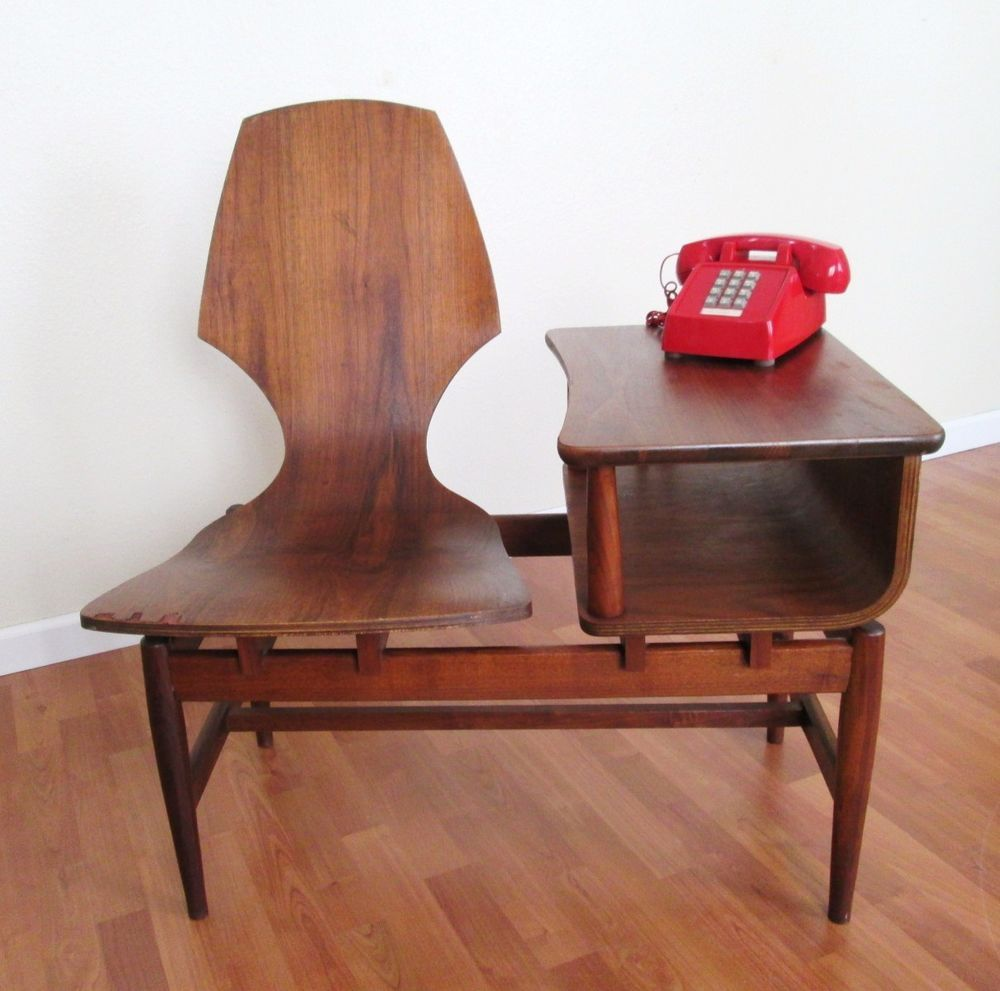Vintage Mid Century Bentwood Plywood Plycraft Telephone Table Chair Gossip  Bench #Plycraft - Vintage Mid Century Bentwood Plywood Plycraft Telephone Table