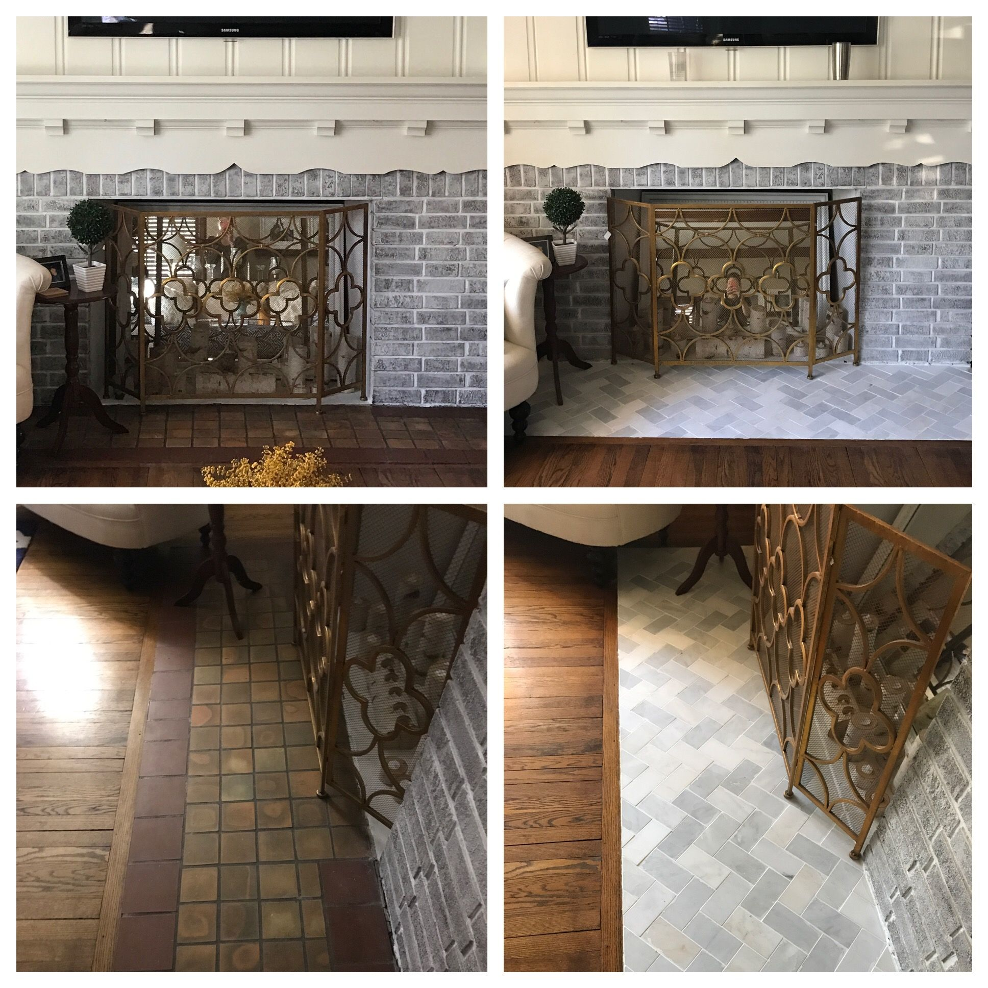 Fireplace floor tile before and after White Grecian tile from Home