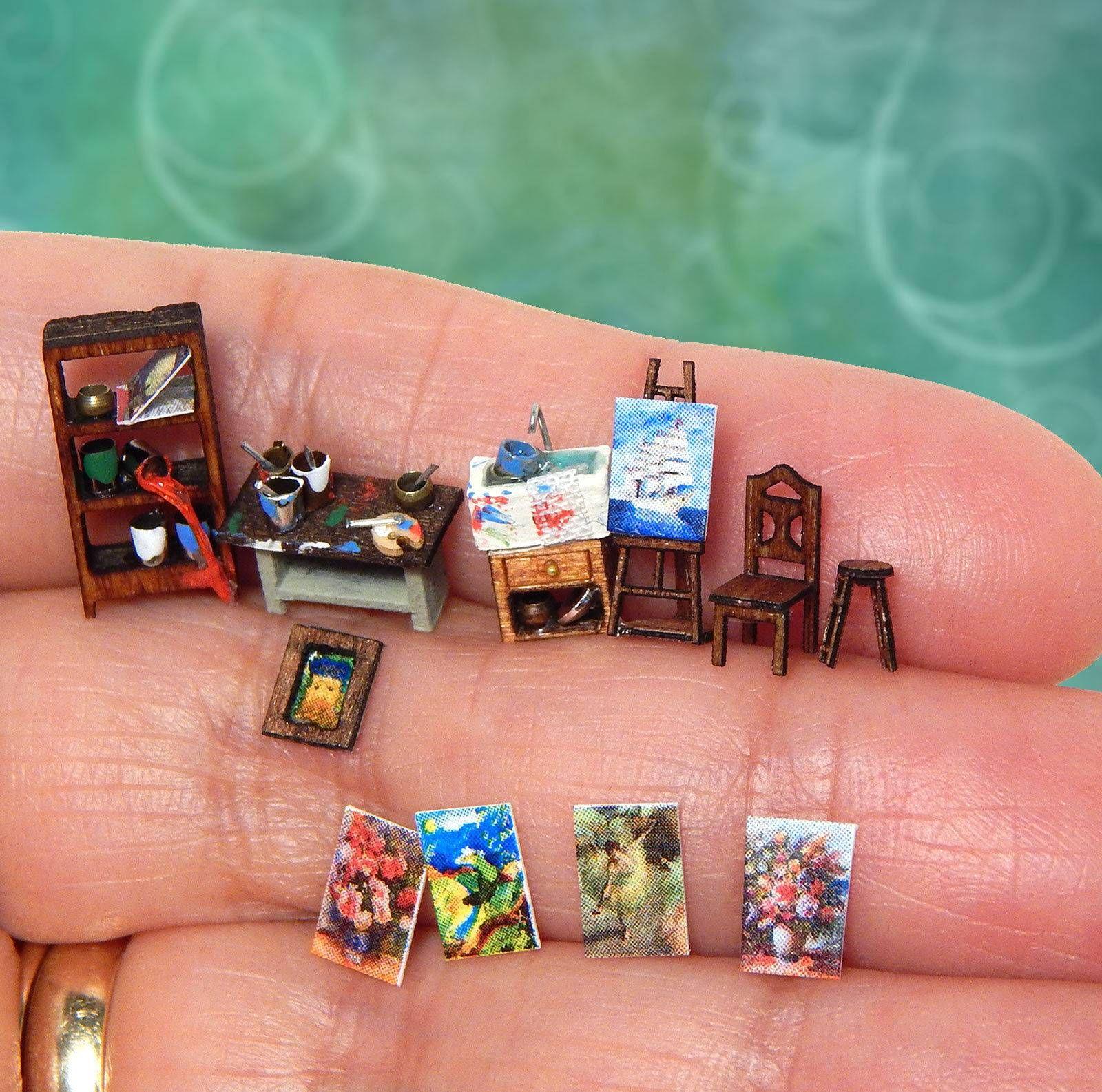 cool 1 144th Scale Dollhouse Miniature Artist Studio Furnishings