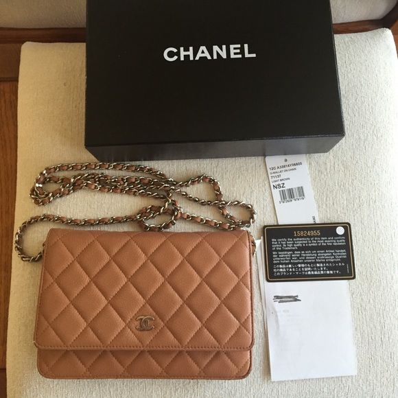 ace6bae7d2ff Authentic Light Brown Caviar Chanel WOC Bag Authentic Chanel woc (wallet on  chain).