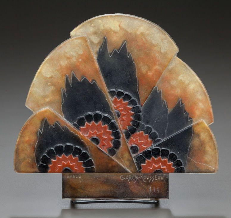 ARGY-ROUSSEAU pate-de-verre glass insert for lamp or sconce. Circa 1920.