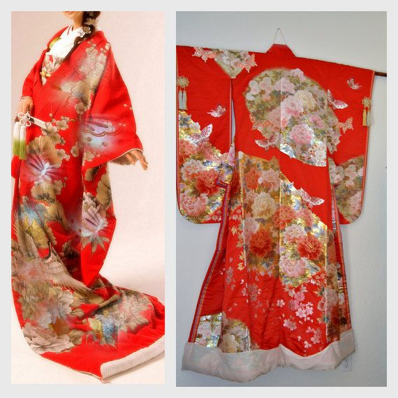Yaegaki Wedding Kimono Bridal Silk Robe Japanese por EventOutlet