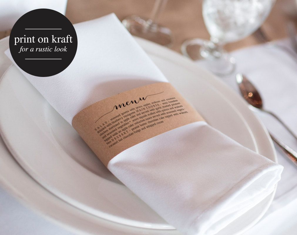 67 Best Images About Napkin Rings Menu Cards On: Printable Wedding Menu, Napkin Menu Wrap, Wedding Menu
