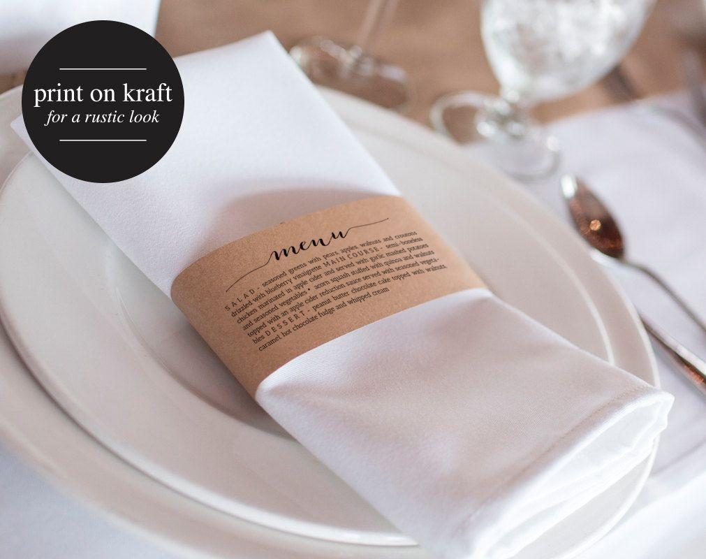 Printable Wedding Menu Napkin Menu Wrap Wedding Menu