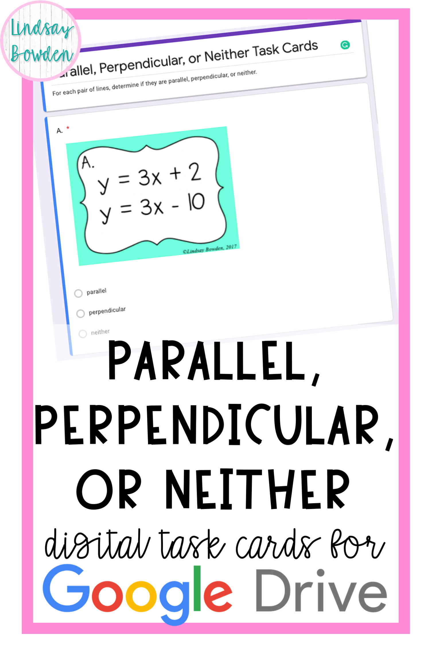 Parallel Perpendicular Or Neither Digital Task Cards In