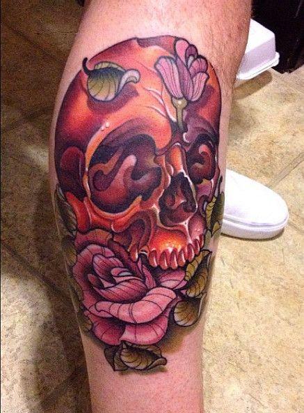 New School Of Skull Tattoo And Pink Rose Tattoo At Leg Tattoo Design