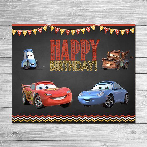 Disney Cars Birthday Sign Chalkboard Lightning Mcqueen Birthday