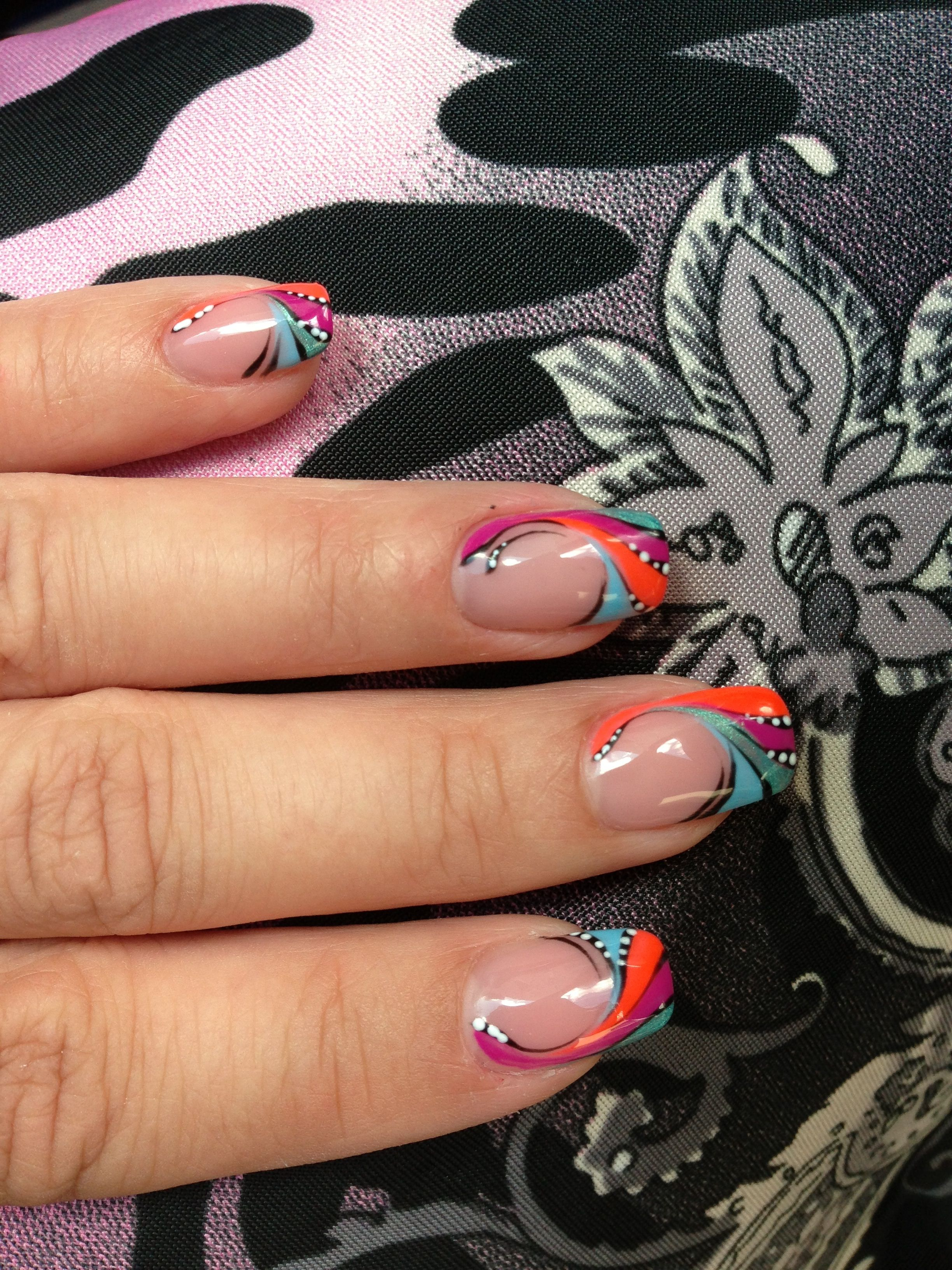 Gel Nails With Abstract Design And Bright Colours Abstract Nail Art