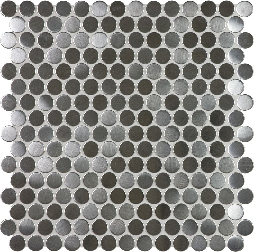Stainless steel pennyround mosaics tile anatoliatile sassi stainless steel penny round mosaics home depot canada dailygadgetfo Images