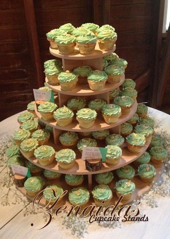 Cupcake Stand 5 Tier 150 Cupcakes Threaded Rod And Etsy Wooden