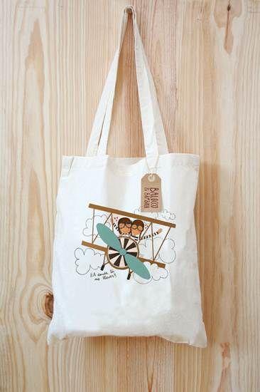 Bolsa de tela con chicos volando en avioneta azul bolsas - Bolsas de tela manualidades ...