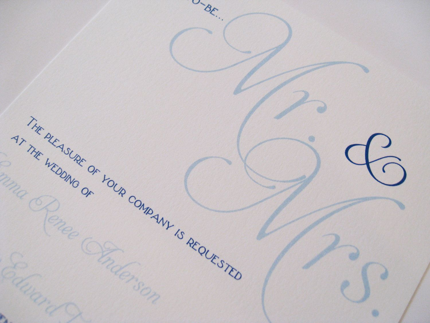 Simple Classy Wedding Invitations Blue Wedding Invitation Mr