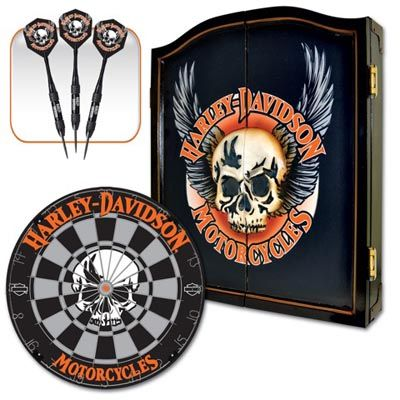 Harley Davidson Dartboard | 510069 Harley Davidson Dart Board Cabinet Set