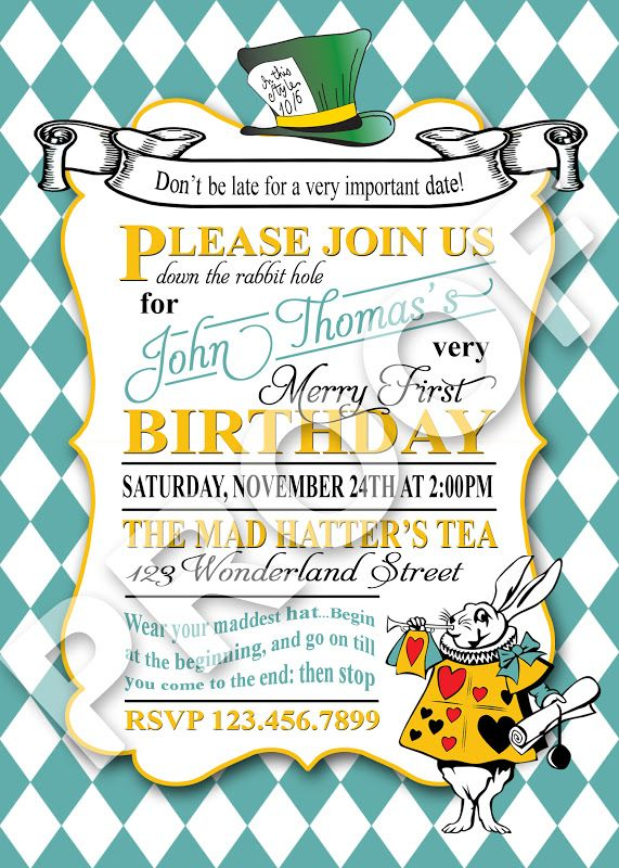 mad hatter tea party invitation Google Search – Mad Hatters Tea Party Invitation Template