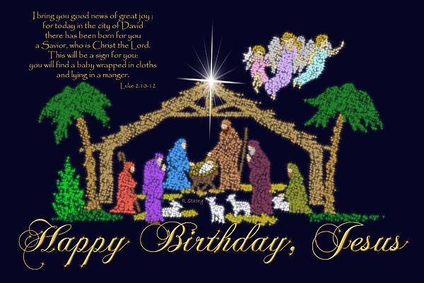Happy birthday jesus messages happy birthday jesus nativity happy birthday jesus messages happy birthday jesus nativity greeting card by robyn stacey bookmarktalkfo Gallery