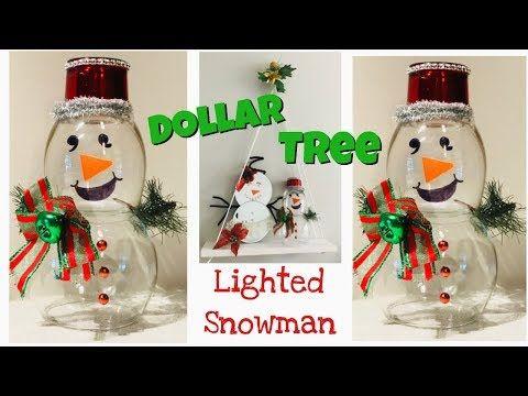 Dollar Tree-Lighted Mr. & Mrs. Snowman DIY - YouTube   Diy snowman, Tree lighting, Dollar tree