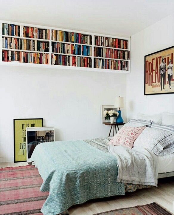 Simple Bookshelf Over Bed Small Bedroom Decor Home Bedroom Home