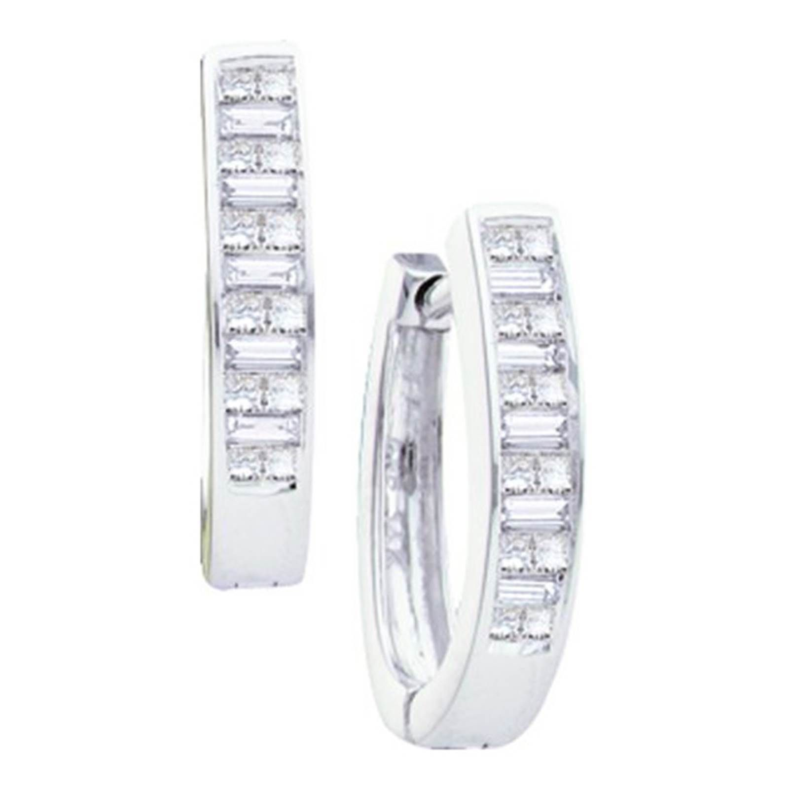 La s 14k White Gold Baguette Princess Cut Diamond Hoop Earrings