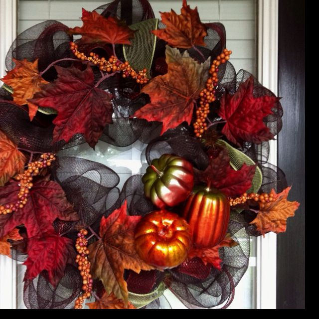 fall deco mesh wreath with glass ornaments