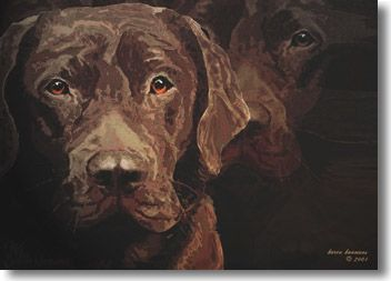 Portrait of two chocolate labs, looking at you. From an original artwork by Karen Koomans, an artist from The Netherlands.