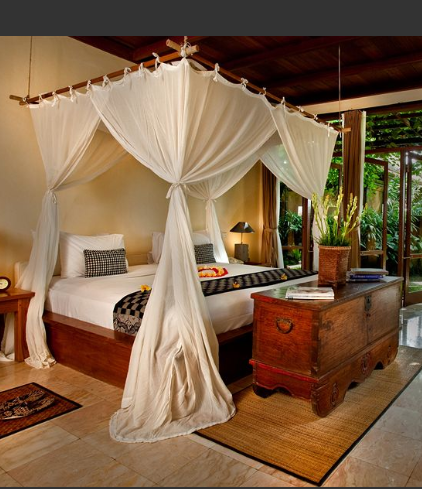 beautiful mosquito net draped 4 poster bed bali indonesia http