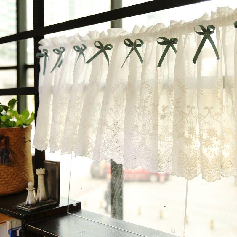 Cheap Cotone rurale Ricamo cava Arco bella tenda caffè breve ...
