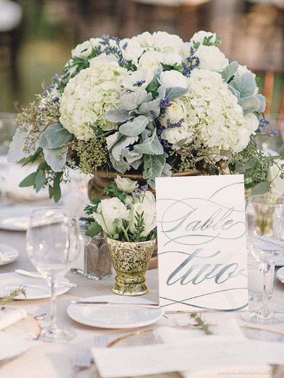 Silver Foil Table Numbers Wedding With