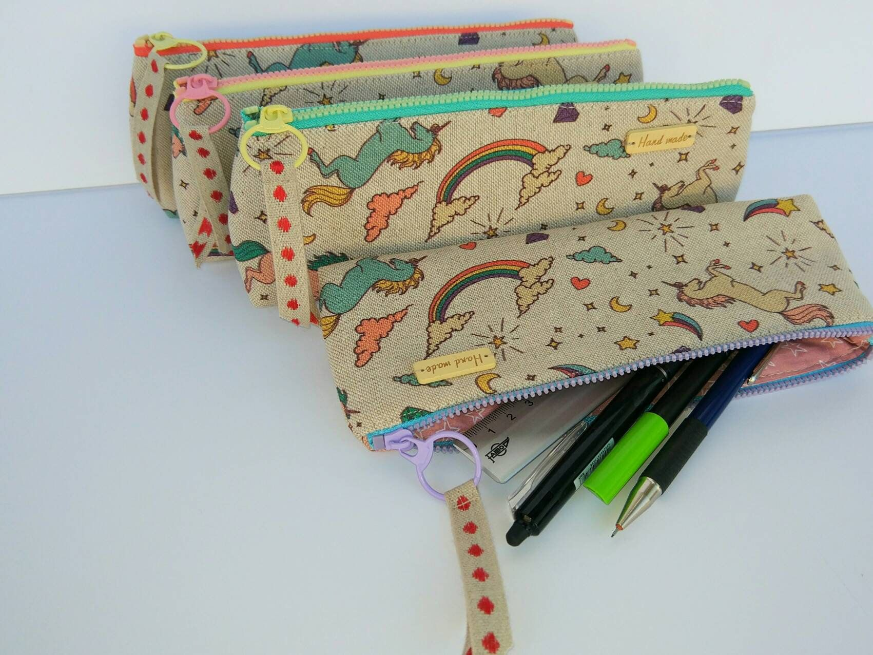 Kit with unicorns, travel case, cosmetic bag makeup