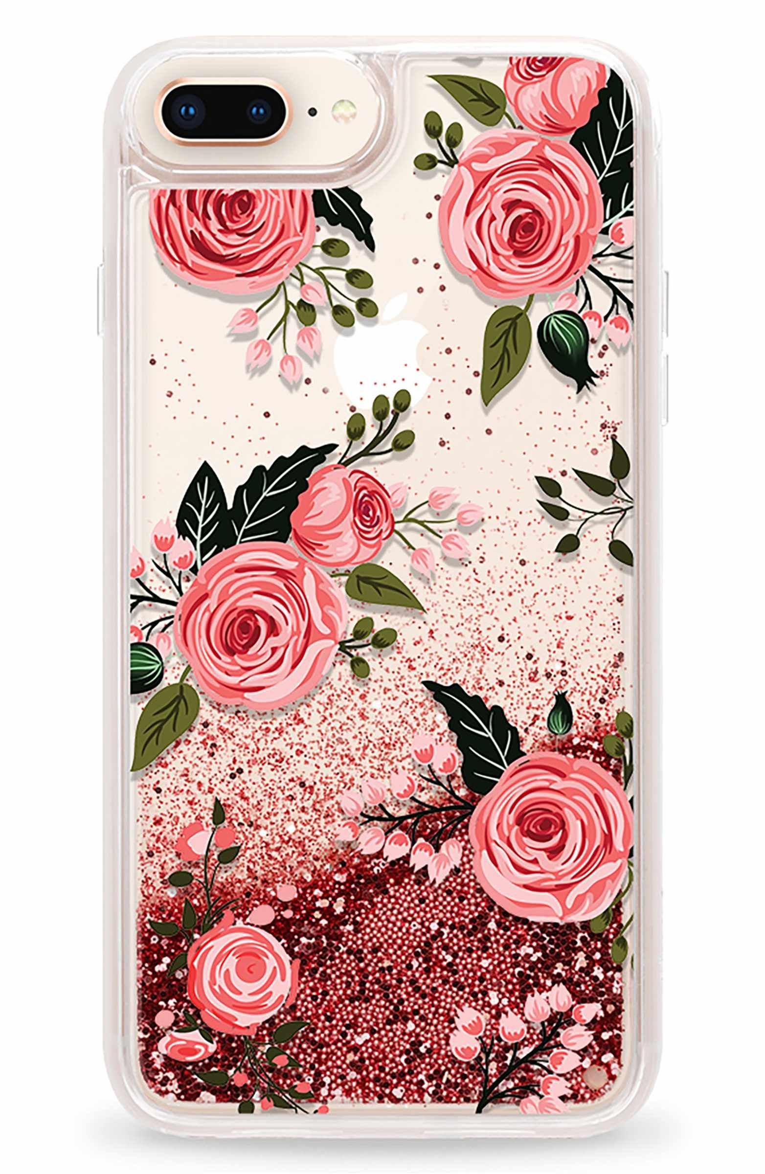 Main Image Casetify Pink Glitter Flowers iPhone 7 8 & 7 8 Plus