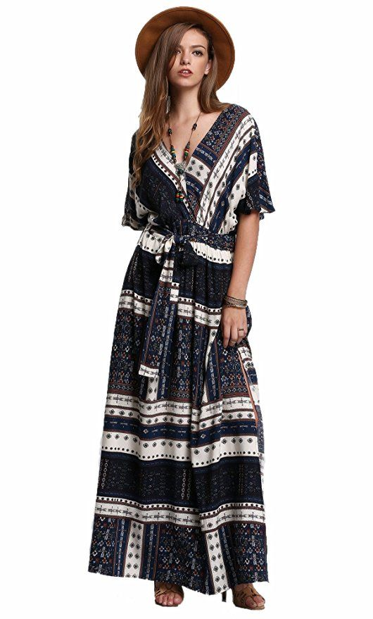 Milumia Women's Boho Deep V Neck Floral Chiffon Wrap Split Long Dress  |Spring Outfits Dresses